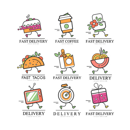 Fast delivery  creative template for corporate identity, restaurant, cafe, label for online shopping vector Illustration on a white background