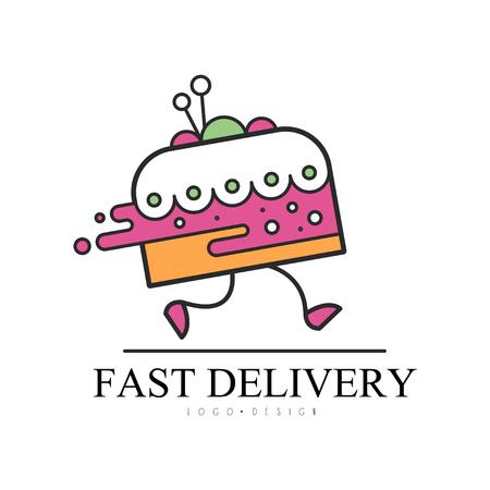 Fast delivery   design, food service delivery, creative template for corporate identity, restaurant, cafe, confectionery vector Illustration on a white background