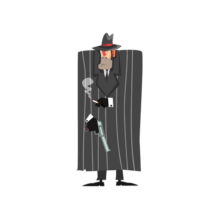 Gangster criminal character in black coat and fedora hat standing with gun and smoking vector Illustration on a white background
