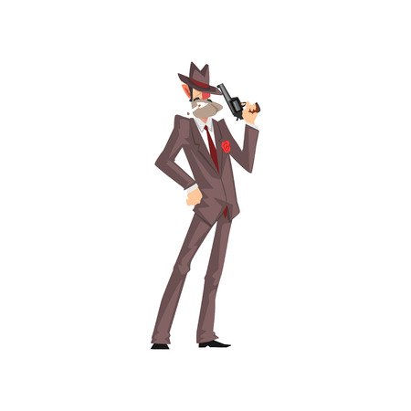 Gangster criminal character in a suit and fedora hat with gun vector Illustration on a white background
