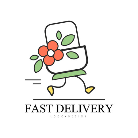 Fast delivery design, creative template for corporate identity, shop, restaurant, cafe vector Illustration on a white background Çizim