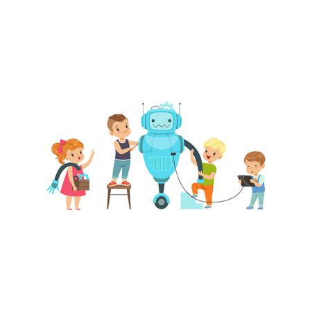 Kleine Kinder programmieren und schaffen intelligente Roboter, Bildungsprojektkonzeptvektorillustration lokalisiert auf einem weißen Hintergrund.