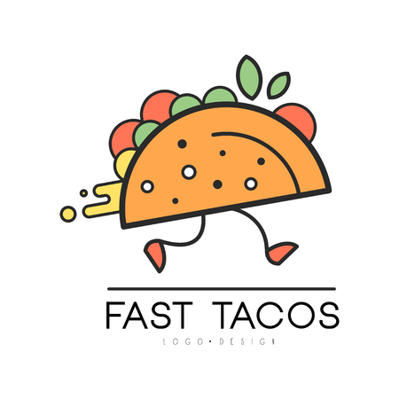 Fast tacos design, food service delivery, creative template for corporate identity, restaurant or cafe of Mexican food vector Illustration on a white background
