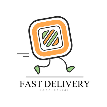 Fast delivery  design, food service delivery, creative template with running sushi roll for corporate identity, Asian restaurant or cafe vector Illustration on a white background Banque d'images - 106811304