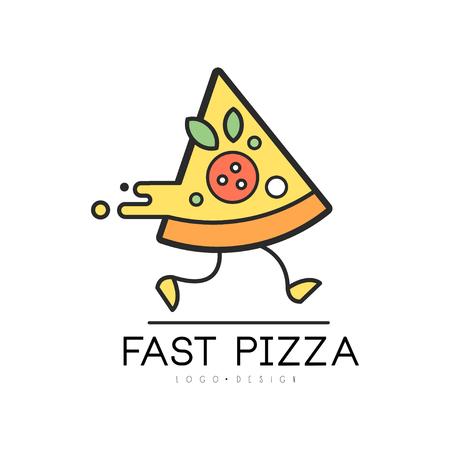 Diseño de pizza rápida, entrega de servicio de alimentos, plantilla creativa con pieza de pizza para identidad corporativa, restaurante, café vector ilustración sobre un fondo blanco