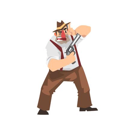 Gangster crimineel stripfiguur in fedora hoed met pistool vector illustratie op een witte achtergrond