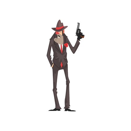 Gangster criminal character in a suit and fedora hat standing with gun vector Illustration on a white background
