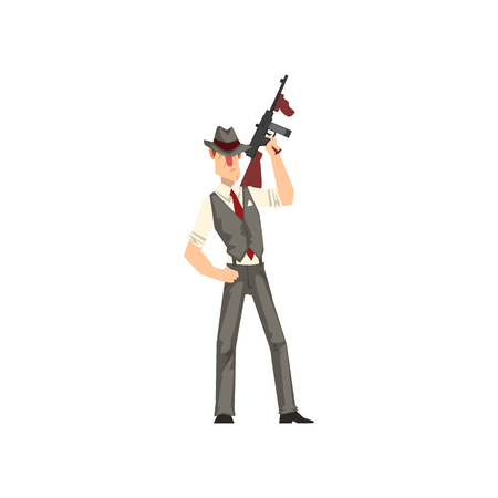 Gangster criminal character in fedora hat with weapon vector Illustration isolated on a white background. Ilustração