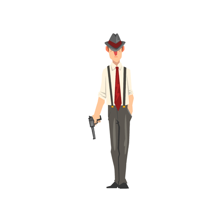 Gangster criminal character in fedora hat with revolver vector Illustration isolated on a white background.