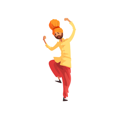 Man dancer in traditional Indian clothes performing folk dance vector Illustration on a white background Illustration