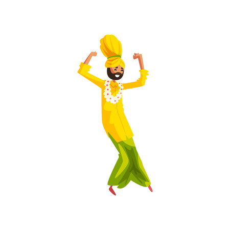 Young man in traditional Indian clothes dancing folk dance vector Illustration on a white background Illustration