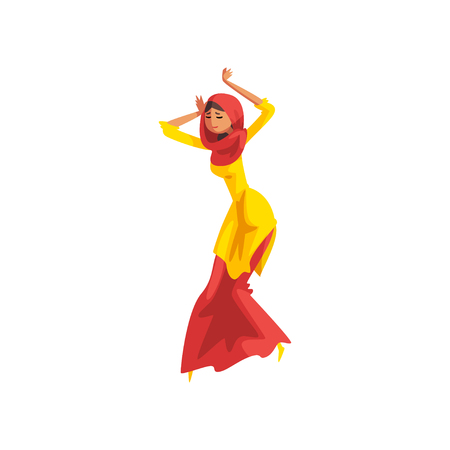 Young woman dancer in traditional Indian clothes performing folk dance vector Illustration on a white background Illustration