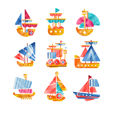 Different vessels set, smal colorful ships flat vector Illustrations isolated on a white background. Illustration