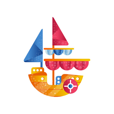 Small sloop ship with colored sails flat vector Illustration isolated on a white background.