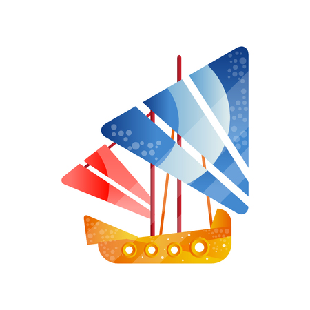Small retro sailing ship with colored sails flat vector Illustration isolated on a white background.
