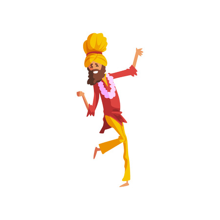 Male dancer in traditional Indian clothes dancing vector Illustration on a white background