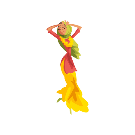 Young woman in traditional Indian clothes dancing vector Illustration on a white background