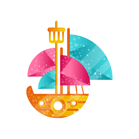 Small sailing ship with blue and pink sails flat vector Illustration isolated on a white background.