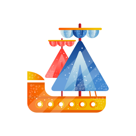 Small sailing ship with blue and red sails flat vector Illustration isolated on a white background.