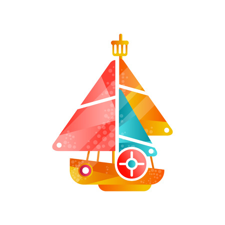 Yacht with colored sails flat vector Illustration isolated on a white background. Illustration