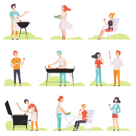 People grilling barbecue on a grill, men and women having outdoor bbq party vector Illustrations isolated on a white background.