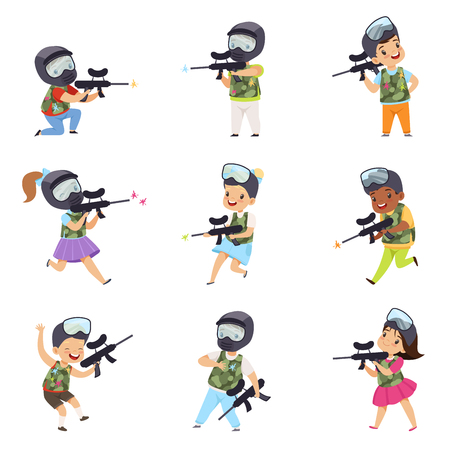 Boys and girls paintball players set, little kids wearing masks and vests playing paintball aiming with guns vector Illustration isolated on a white background.