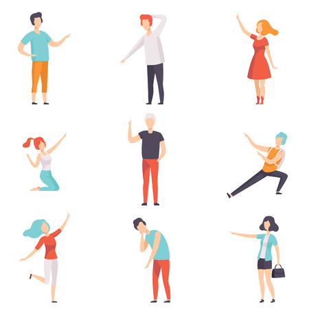 People pointing their finger in different directions set, faceless men and women characters gesturing vector Illustrations isolated on a white background. Vettoriali