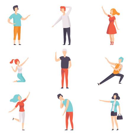 Personas señalando con el dedo en diferentes direcciones, personajes de hombres y mujeres sin rostro gesticulando ilustraciones vectoriales aisladas sobre fondo blanco.