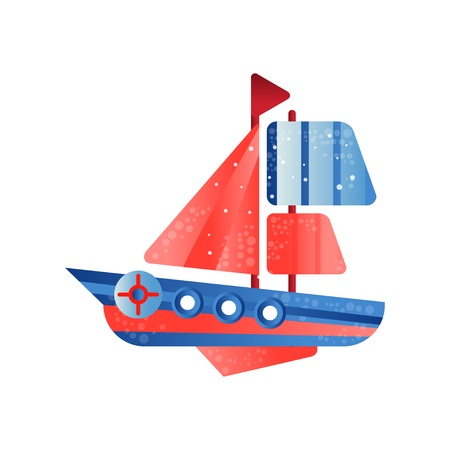 Small ship with red sails flat vector Illustration isolated on a white background. Çizim