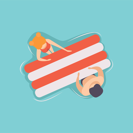 Young couple floating on air mattress in swimming pool, top view vector Illustration on a light blue background.