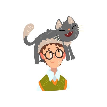 Boy in glasses and his funny cat, adorable pet sitting on the head of its owner vector Illustration isolated on a white background. Stock Vector - 111776036