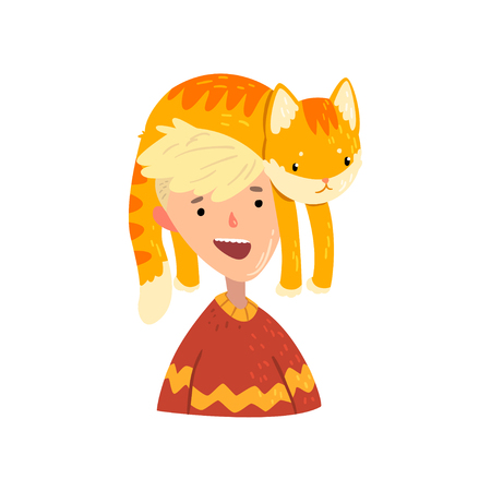 Smiling boy and his red cat, adorable pet lying on the head of its owner vector Illustration isolated on a white background.