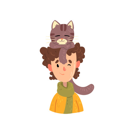 Boy and his grey cat, adorable pet sleeping on the head of its owner vector Illustration isolated on a white background.