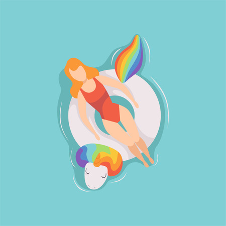 Young beautiful woman floating on inflatable ring in the shape of unicorn in swimming pool, top view vector Illustration on a light blue background.