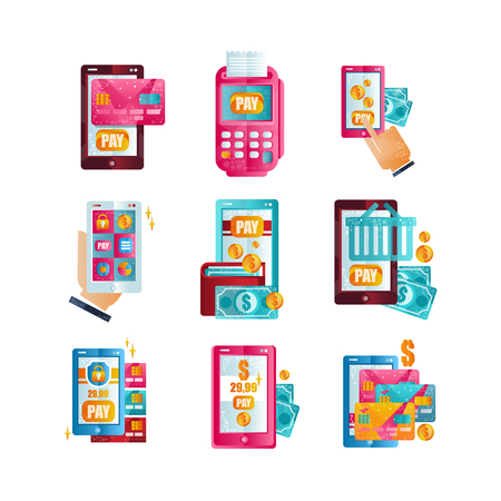 Modern smartphones with online payments via applications set, wireless money transfer, online banking, shopping, e commerce concept flat vector Illustrations isolated on a white background. Ilustrace