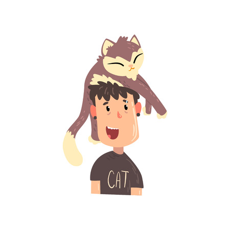 Happy guy and his grey cat, adorable pet sleeping on the head of its owner vector Illustration isolated on a white background. Illustration