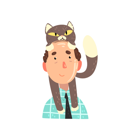 Man and his grey cat, adorable pet on the head of its owner vector Illustration isolated on a white background. Illustration