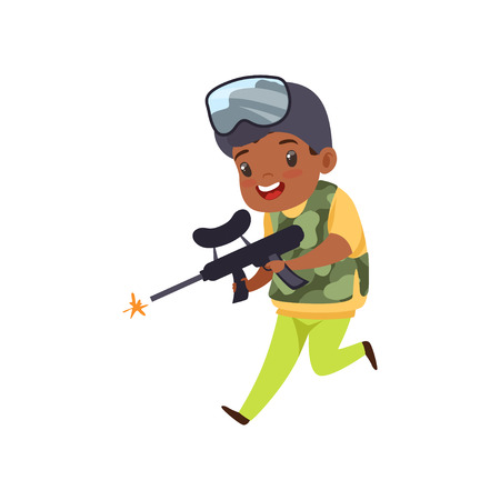 Cute little african american boy playing paintball with gun wearing helmet and vest vector Illustration isolated on a white background.