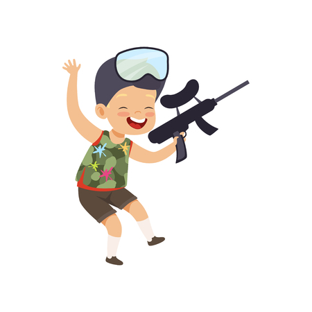 Cute happy little boy playing paintball with gun vector Illustration isolated on a white background.