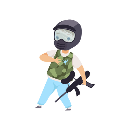 Little boy wearing mask and vest playing paintball vector Illustration isolated on a white background.