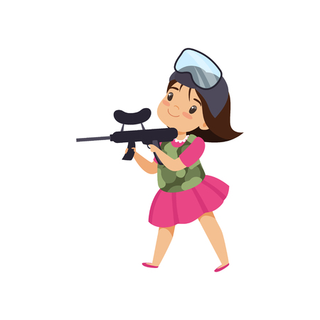 Lovely little girl playing paintball with gun vector Illustration isolated on a white background.
