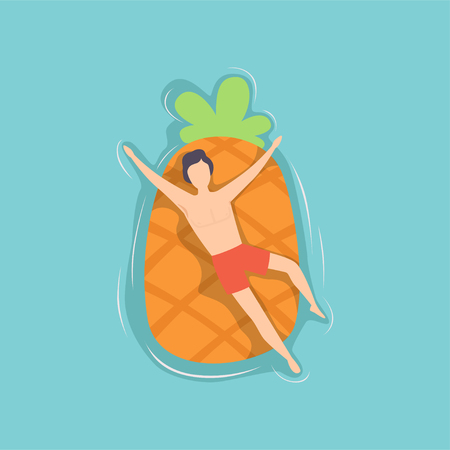 Young man floating on air mattress in the shape of pineapple in swimming pool, top view vector Illustration on a light blue background. Illustration