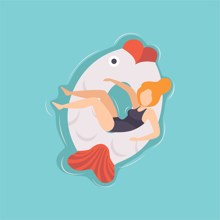 Young beautiful woman floating on inflatable ring in the shape of fish in swimming pool, top view vector Illustration on a light blue background. Illustration