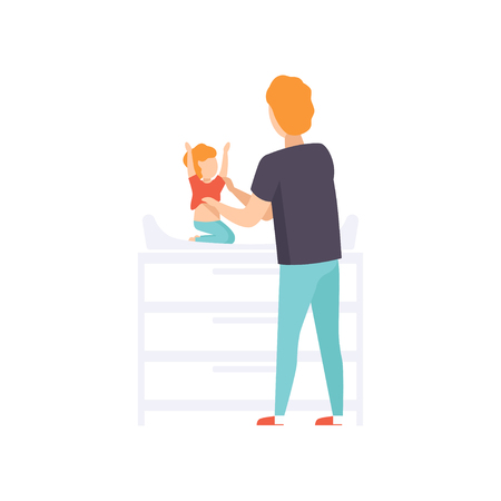 Father dressing his baby toddler on a changing table, dad taking care of his child vector Illustration isolated on a white background. Çizim