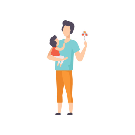 Father playing rattle to little baby toddler, dad taking care of his child vector Illustration isolated on a white background.