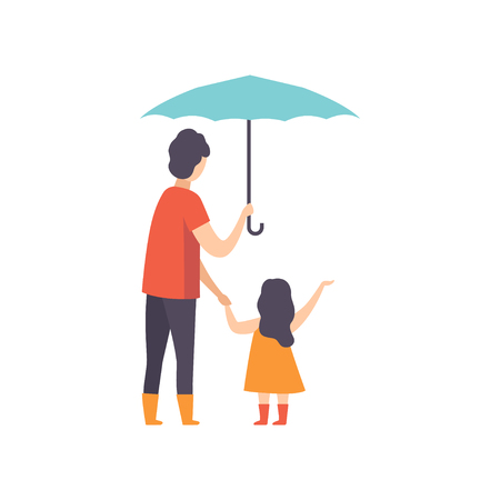 Father walking with his little daughter under an umbrella, dad taking care of his child vector Illustration isolated on a white background.
