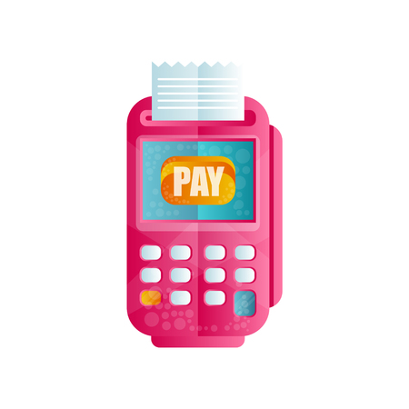 POS terminal confirming the payment, machine for processing payments by credit or debit card flat vector Illustration isolated on a white background.