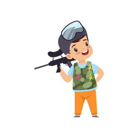 Cute little boy playing paintball with gun wearing helmet and vest vector Illustration isolated on a white background.