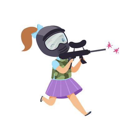 Cute little girl playing paintball with gun wearing helmet and vest vector Illustration isolated on a white background. Stock Illustratie