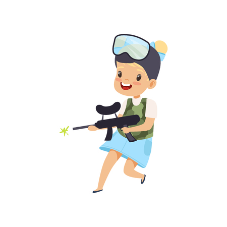 Smiling little girl wearing mask and vest aiming with gun, paintball player vector Illustration isolated on a white background.
